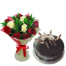 Chocolate Cake and Mix Roses